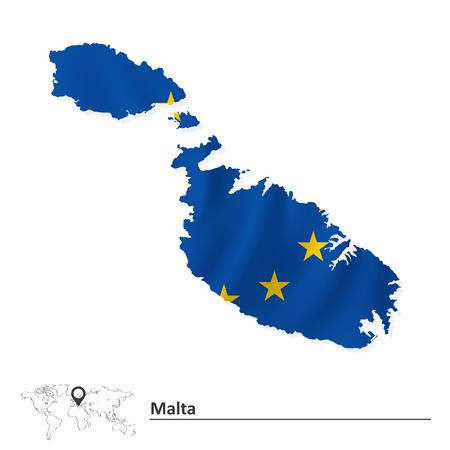 malta map: Map of Malta with European Union flag illustration Illustration