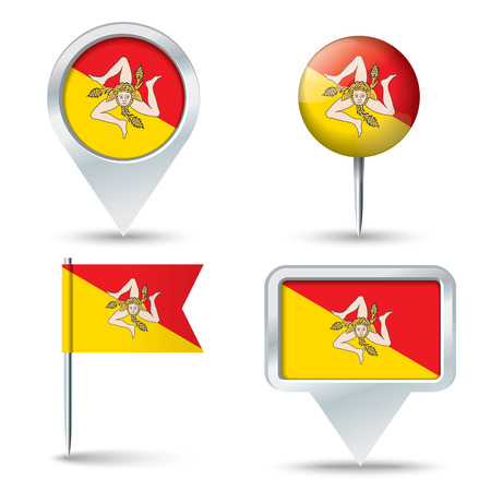 map pins: Map pins with flag of Sicily illustration