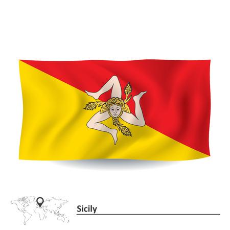 bandera blanca: Flag of Sicily illustration Vectores