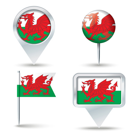 map pins: Map pins with flag of Wales illustration Illustration