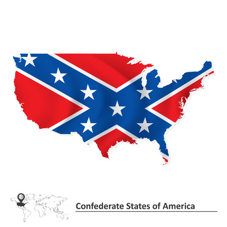 Flag of Confederate states of America with USA map illustration