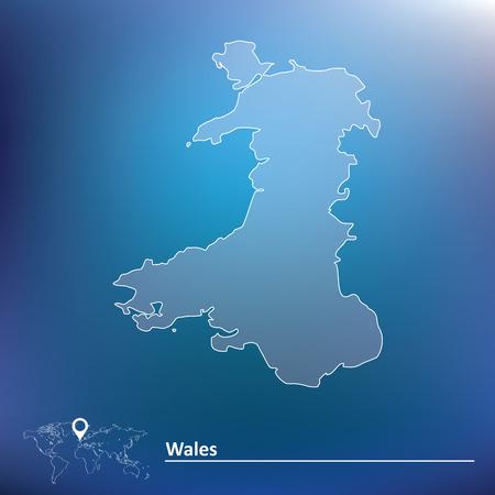 wales: Map of Wales illustration Illustration