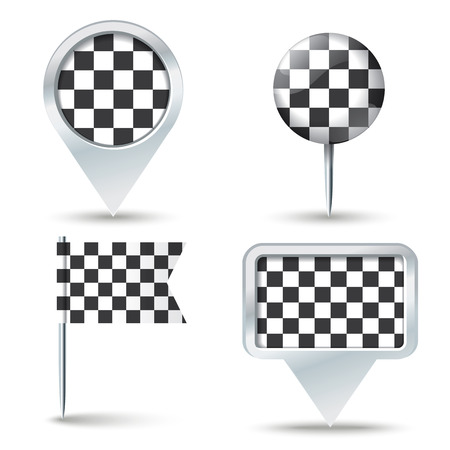 map pins: Map pins with Checkered Race flag illustration