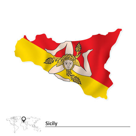 Map of Sicily with flag illustration Illustration