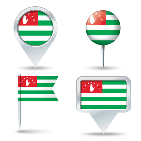 map pins: Map pins with flag of Abkhazia illustration