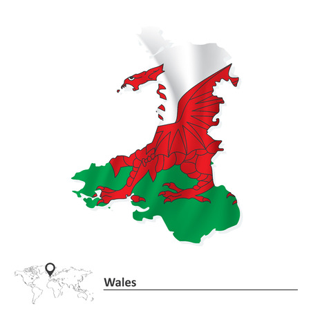 wales: Map of Wales with flag illustration Illustration