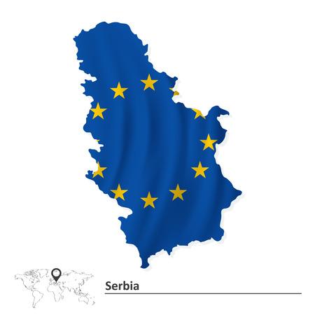 serbien: Karte von Serbien mit der Europ�ischen Union Flag Illustration Illustration