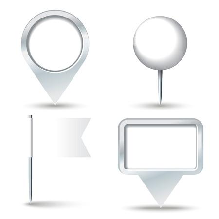 map pins: White map pins illustration
