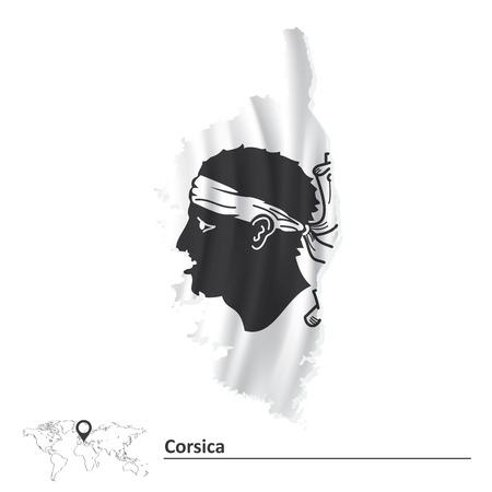 ajaccio: Map of Corsica with flag illustration