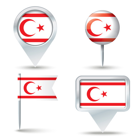map pins: Map pins with flag of Northern Cyprus Illustration