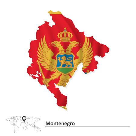 montenegro: Map of Montenegro with flag illustration Illustration
