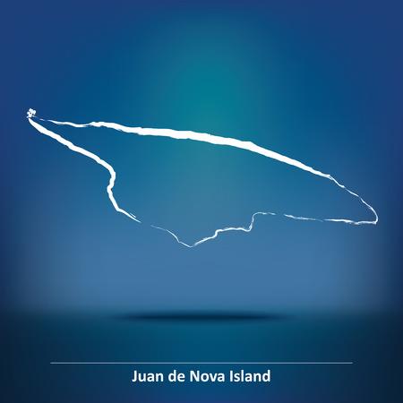 nova: Doodle Map of Juan de Nova Island - vector illustration Illustration