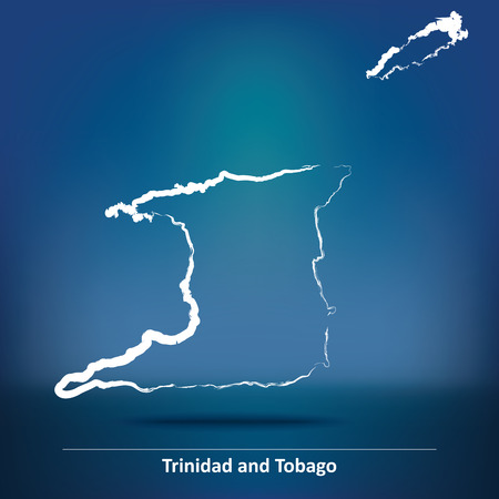 trinidadian: Doodle Map of Trinidad and Tobago - vector illustration Illustration