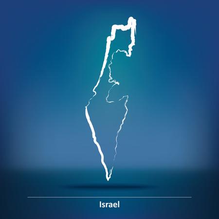 israel: Doodle Map of Israel - vector illustration