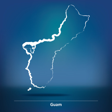 guam: Doodle Map of Guam - vector illustration