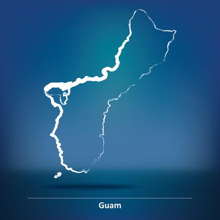 guam: Doodle Map of Guam - vector illustration
