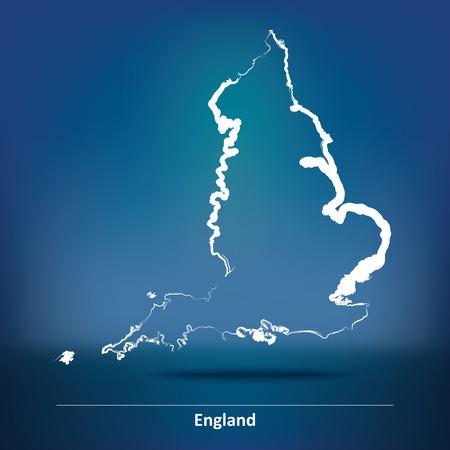 britan: Doodle Map of England - vector illustration