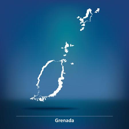 grenada: Doodle Map of Grenada - vector illustration