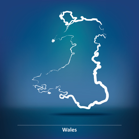 Doodle Map of Wales - vector illustration