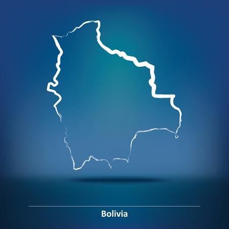 bolivia: Doodle Map of Bolivia - vector illustration