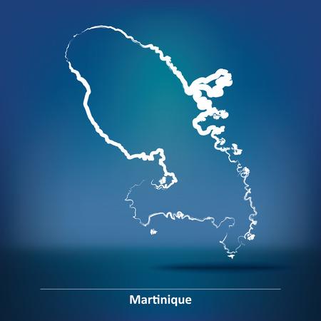 martinique: Doodle Map of Martinique - vector illustration Illustration