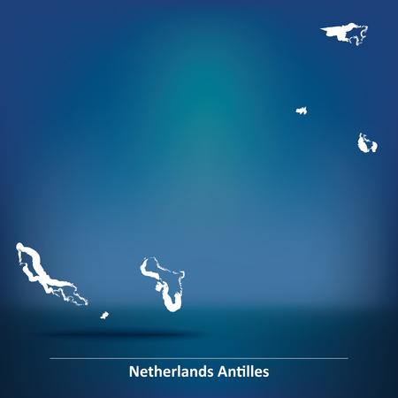 antilles: Doodle Map of Netherlands Antilles - vector illustration