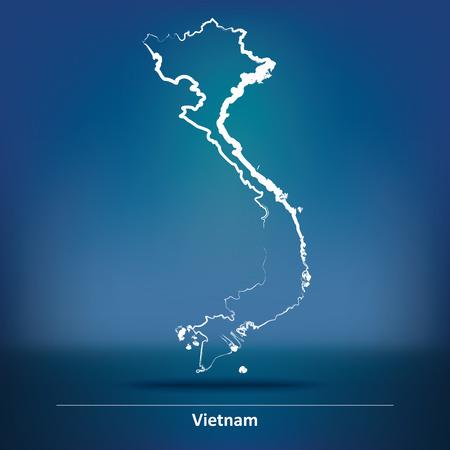 indochina peninsula: Doodle Map of Vietnam - vector illustration Illustration