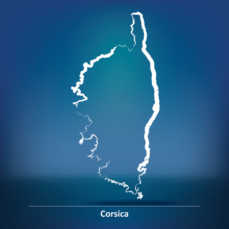 corsica: Doodle Map of Corsica - vector illustration Illustration