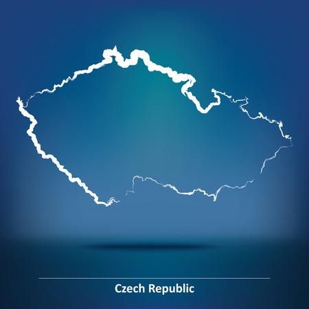 the czech republic: Doodle Map of Czech Republic - vector illustration
