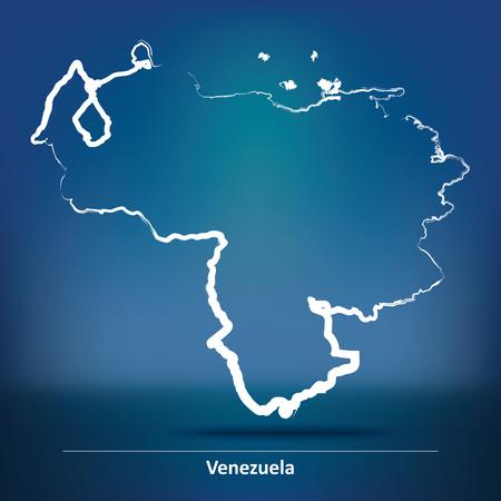 mapa de venezuela: Doodle Mapa de Venezuela - ilustraci�n vectorial