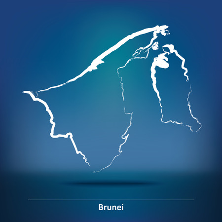 map of brunei: Doodle Map of Brunei - vector illustration Illustration