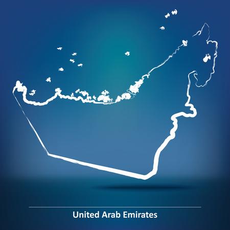 united arab emirate: Doodle Map of United Arab Emirates - vector illustration