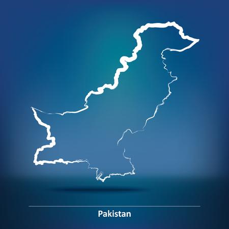 islamabad: Doodle Map of Pakistan - vector illustration