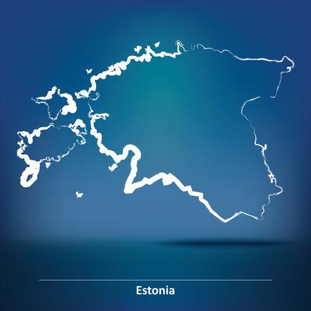 Doodle Map of Estonia - vector illustration