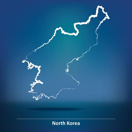 korea: Doodle Map of North Korea - vector illustration Illustration