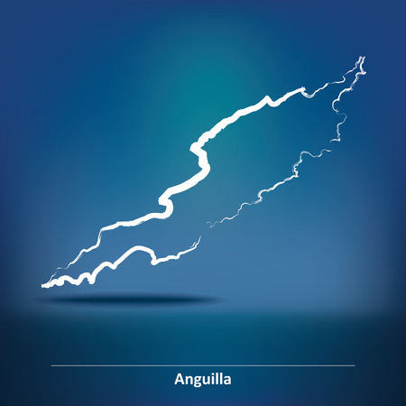 anguilla: Doodle Map of Anguilla - vector illustration