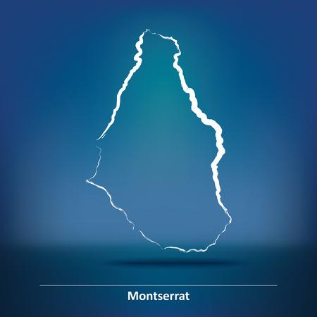 montserrat: Doodle Map of Montserrat - vector illustration Illustration