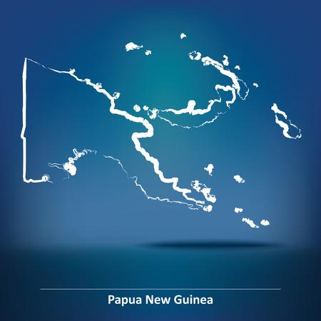 papua: Doodle Map of Papua New Guinea - vector illustration