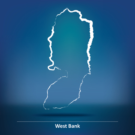 west bank: Doodle Map of West Bank - vector illustration