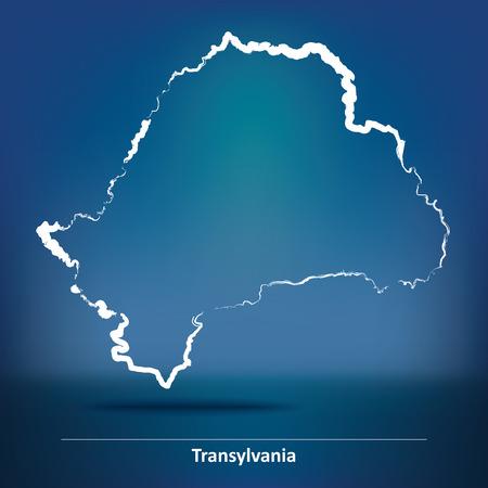 transylvania: Doodle Map of Transylvania - vector illustration Illustration