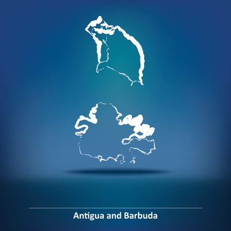 barbuda: Doodle Map of Antigua and Barbuda - vector illustration Illustration