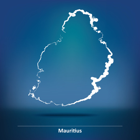 creole: Doodle Map of Mauritius - vector illustration