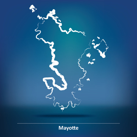 mayotte: Doodle Map of Mayotte - vector illustration