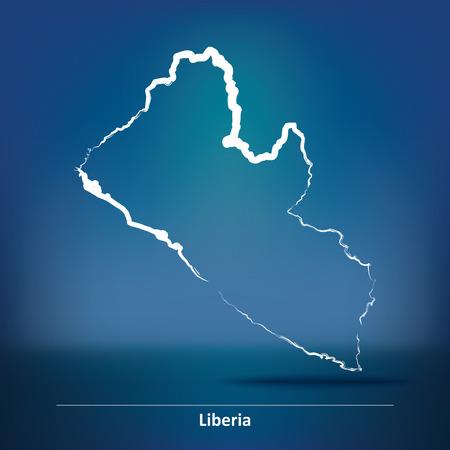 liberia: Doodle Map of Liberia - vector illustration