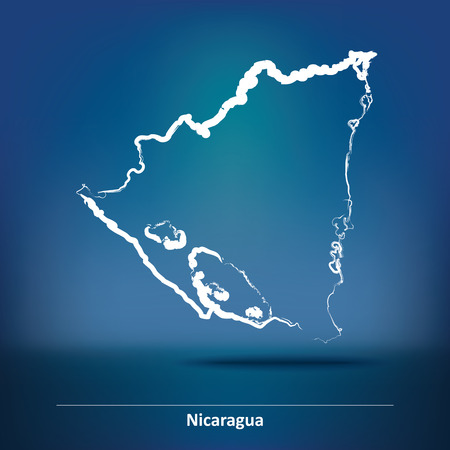 toltec: Doodle Map of Nicaragua - vector illustration