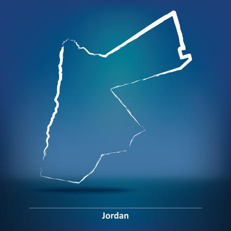 jordan: Doodle Map of Jordan - vector illustration