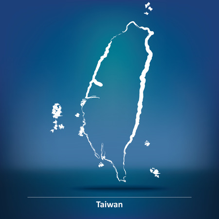 taiwanese: Doodle Map of Taiwan - vector illustration