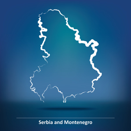 serbia and montenegro: Doodle Map of Serbia and Montenegro - vector illustration