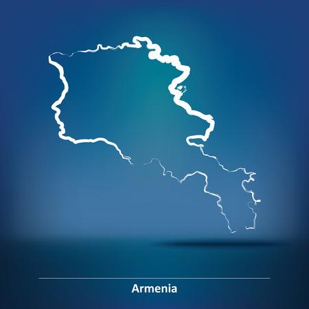 Doodle Map of Armenia - vector illustration Illustration