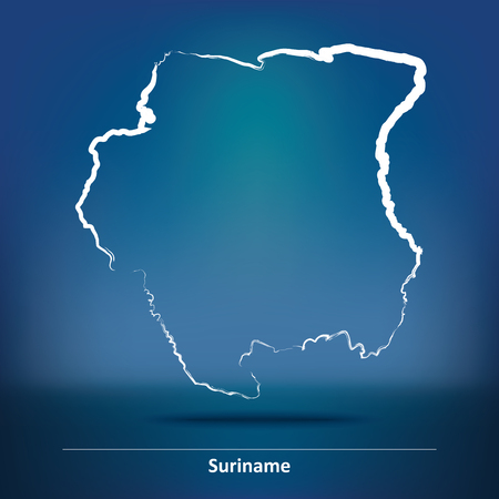 suriname: Doodle Map of Suriname - vector illustration